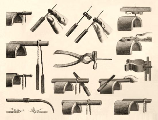 Zeichung: Werkzeuge zur Herstellung von Uhrenketten
