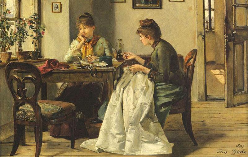 Gemälde: zwei nähende Frauen an einem Stubentisch