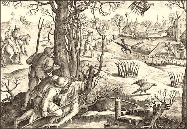Kupferstich: rundes Weidenewerk (eingegraben + Ruten beleimt), mittig Ködervogel - 1578