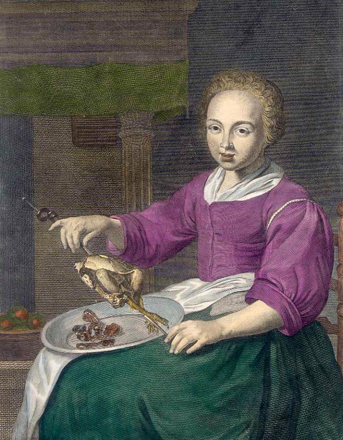 kolorierter Kupferstich: sitzende Köchin hat einen Spieß mit Vogel in der Hand