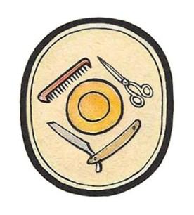 ovales Zeichen mit Kamm, Schere, Schaumschale und Rasiermesser