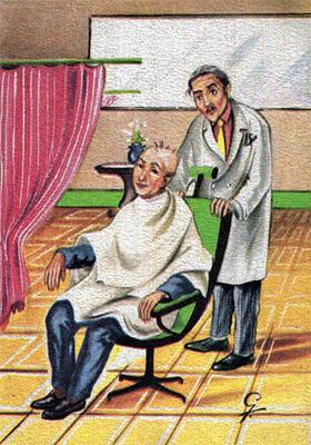 farbige Künstlerkarte: Kunde mit nur noch 6, 7 Kopfhaaren und ratloser Friseur