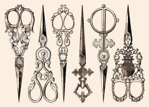 Kupferstich: sechs kunstvoll gestaltete Scheren - 18. Jh