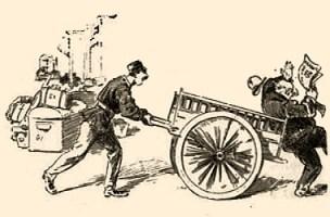 sw Karikatur: Gepäckträger rempelt Zeitungsleser mit Karren an