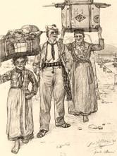 Zeichnung: zwei Frauen tragen am Hafen Touristengepäck auf dem Kopf