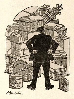 Zeichnung: Gepäckträger vor großem Stapel aufgetürmten Reisegepäcks