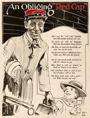sw Zeichnung + Verse: Gepäckträger mit kleinem Mädchen an der Hand - 1923, USA