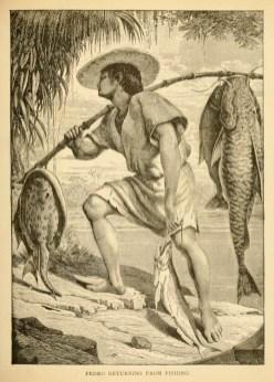 Illu: Mann mit Hut bringt große Fische an einer Stange heim