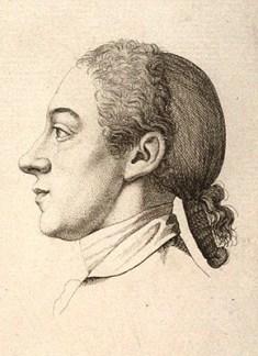 Zeichnung: Mann im Profil mit Hinterkopf-Haarnetz