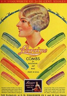 farbige Werbung: Kämme in verschiedenen Größen und Farben - 1933, USA