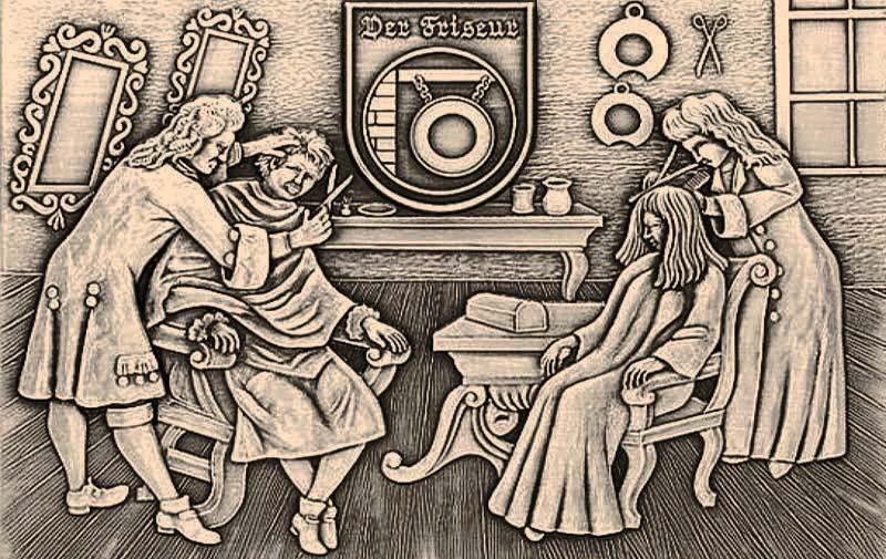 Reliefbild aus Metall: Friseur und Friseurin beim Haareschneiden