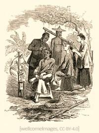 Zeichnung: zwei Chinesen frisieren Kunden unter Bäumen - 1890