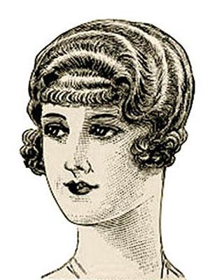 Zeichnung: Dame mit Querlocken