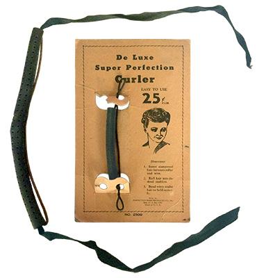 Farbfoto: Metallwickler mit Rundgummi plus Stoffband - 1930, USA