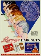 Farbfoto: Verpackung incl. Werbung für Haarnetze in 5 Farben - 1930, USA