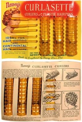 Farbfoto: gitterartige Hartplastikwickler mit Plastikpins - 1955
