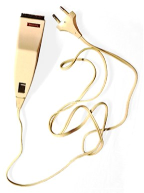 Farbfoto: elektrisches eckiges Haarschneidegerät