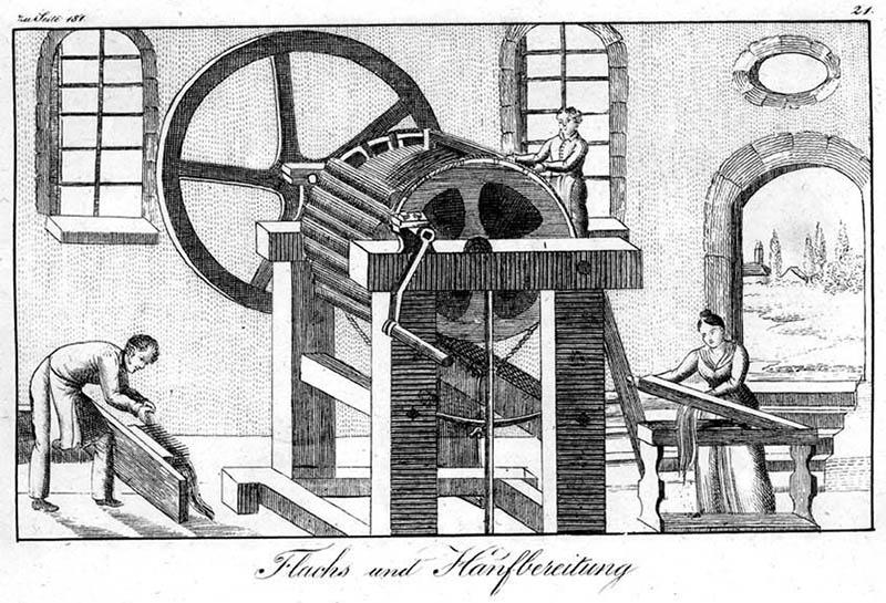 Frauen und Männer arbeiten an einer großen Maschine