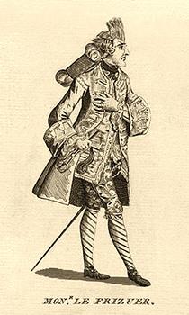 Karikaturzeichnung: Friseur mit Haarnetz, Kamm im Haar und Schere in der Hand