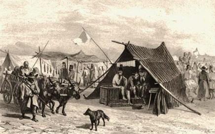 sw Gemäldefoto: Zigeunerbarbier arbeitet in einem Marktzelt