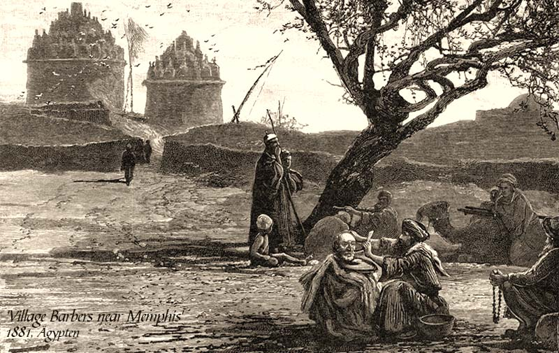 Grafik: unter einem Baum scheren zwei Dorfbarbiere Männern das Haar