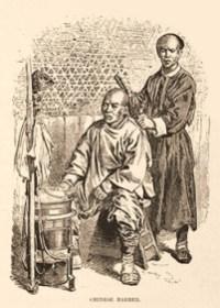 sw Postkarte: chinesischer Straßenbarbier frisiert einen Mann - 1884