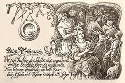 Zeichnung: Friseurszene aus dem 19. Jahrhundert + Spruch