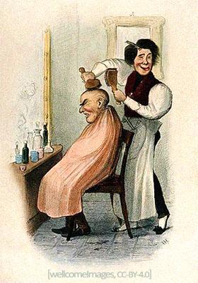 Farblitho: schalkhafter Friseur bürstet älterem Herrn die Glatze