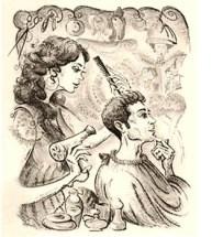Zeichnung: Friseurin frisiert einen Herrn