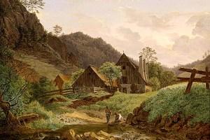 Gemälde: Hammerschmiede am Bach mit 3 Schornsteinen