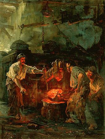 Gemälde: Erzeugen von Roheisen unter dem Hammer - 1890