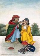 Gouache Malerei: Indischer Ohrenreiniger bei der Arbeit