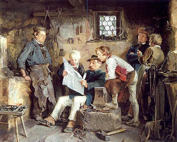 Gemälde: in Dorfschmiede versammelte Männerrunde beim Politisieren
