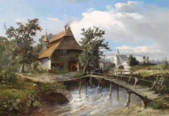 Gemälde: Bachlauf mit Holzsteg, der zur dahinter liegenden Dorfschmiede führt - 1881