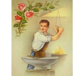 gemalte Postkarte: Schmied unter Rosenzweig
