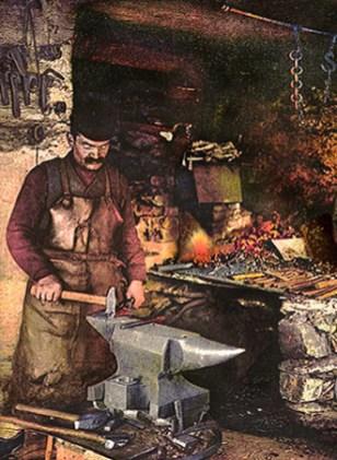 Farblitho: Erzgebirgischer Schmied bearbeitet kleinere Werkstücke am Amboss - 1920