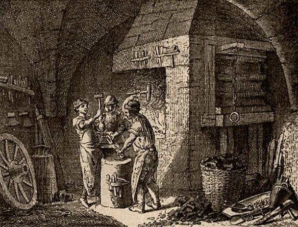 Holzstich: drei junge Schmiede arbeiten vergnügt am Amboss - 1750