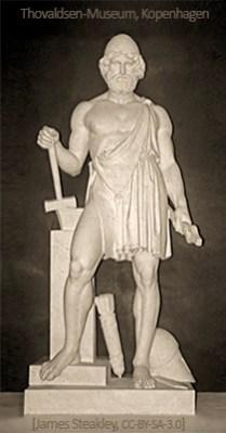 Skulptur: Vulcanus mit Hammer und Zange