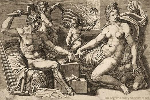 Kupferstich: Venus zu Besuch in Vulcanus' Schmiede