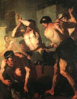 Gemälde: mehrere Schmiede im Lendenschurz bei der Arbeit