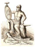 Zeichnung: Hephaistos auf dem Amboss sitzend begutachtet ein geschmiedetes Schild