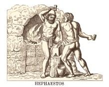 Holzstich: Hephaistos und Geselle vor Kamin am Amboss arbeitend
