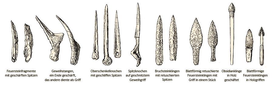 Zeichnung: verschiedene 'Klingen' aus Geweih, Knochen, Feuerstein und Obsidian