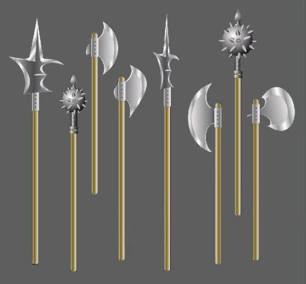 grafische Darstellung: mittelalterliche Waffen