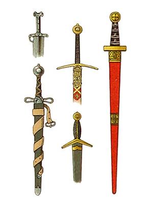 Farblitho: Schwerter und Schwertgriffe - 1300