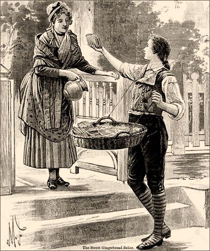 sw Litho: junger Händler mit vorgebundenem 'Bauchkorb' bietet Frau Ingwerbrot an - 1897, England
