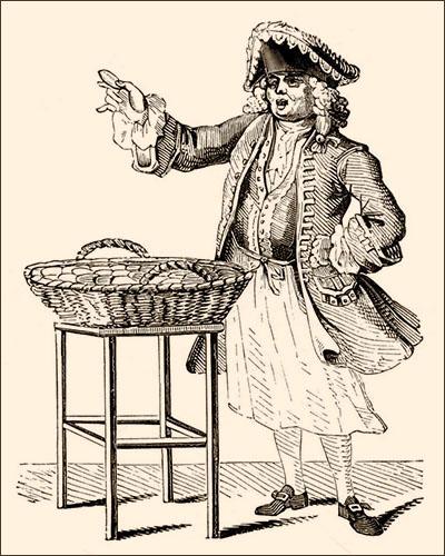 Tuschezeichnung: Herr mit 'Dreispitz'-Hut bietet Lebkuchen feil - 1850