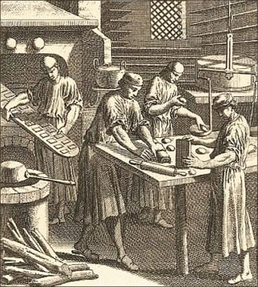 Kupferstich: 4 Lebküchner bei verschiedenen Arbeitsschritten - 1698