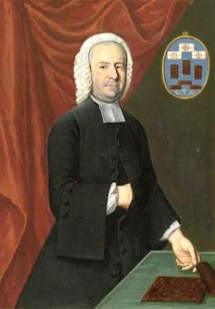 Buchmalerei: Appelt steht an Tisch mit Lebkuchen, auf Bild an der Wand Lebkuchen und seine Initialen G.T.A. - 1756