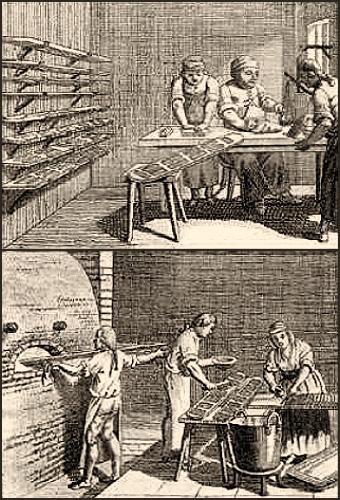 Kupferstich: Formen werden gefüllt und fertig gebackene Teile glasiert - 1790